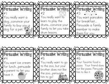 Persuasive Writing Prompt Cards for Grades 1-2 by Sunshine