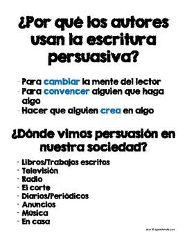 Persuasive Writing in Spanish (Escritura Persuasiva) by