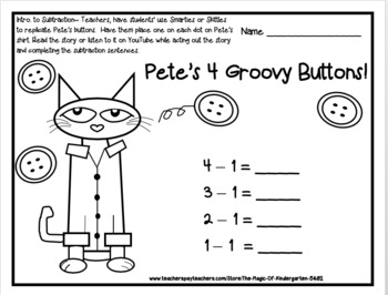 Pete's 4 Groovy Buttons~Intro. to subtraction set by The