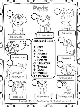 Pets and farm animals Worksheets! by Effective Teaching