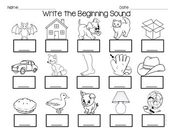 Phoneme Isolation, Letter Sound Practice Sheets by Ms