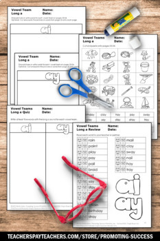 Long Vowel Worksheets, Word Work, Vowel Team ay ai by