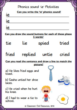 Phonics Powerpoint Worksheets For The Ie Sound By