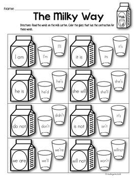 Phonics Prep: Contraction Worksheets by Kindergarten Kiosk