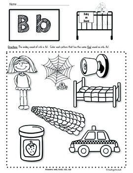 Phonics Prep: Ending Sounds Worksheets by Kindergarten