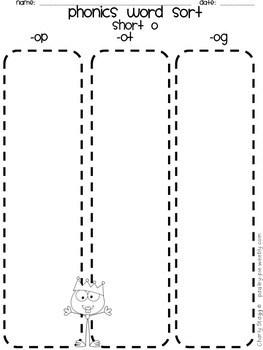 PHONICS: Word Sort PRINTABLE Station Activity- cvc short o