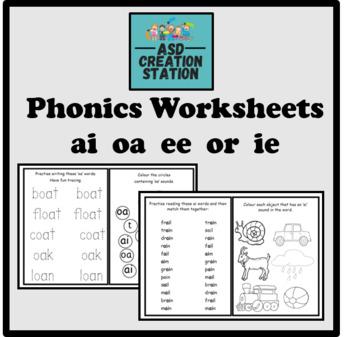 Phonics worksheets x24 Jolly phonics Set 4: ai, j, oa, ee