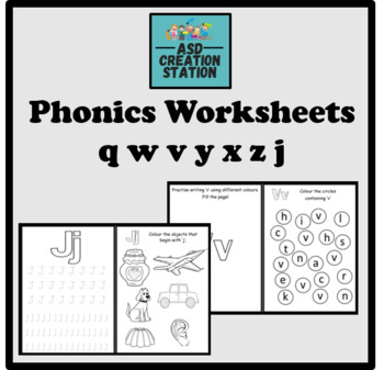 Phonics worksheets x28 Jolly phonics Set 5: q, w, v, y, x