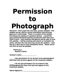 Photography Permission Slip By The Love Of Teaching Tpt
