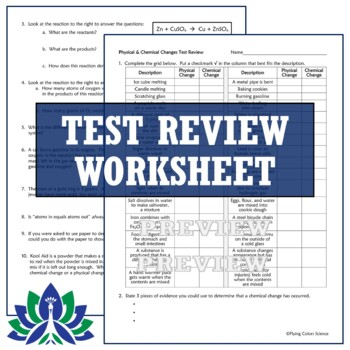 Physical Changes & Chemical Reactions Test Assessment NGSS