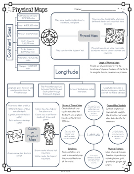 Physical Maps Diagram with Comprehension Questions by Bow