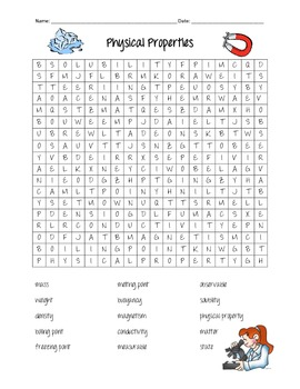 Physical Properties Science Word Search by Jaclyn Clements