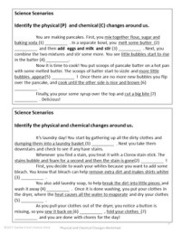 Physical and Chemical Properties and Changes Worksheet | TpT