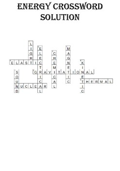 Physics Crossword Puzzle: Energy Forms (Includes answer