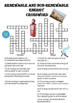 Physics Crossword Puzzle: Renewable and nonrenewable