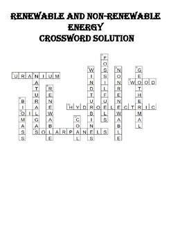 Physics Crossword Puzzle: Renewable and nonrenewable