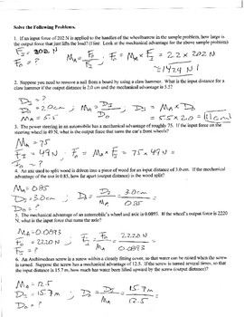 Physics  Mechanical Advantage Worksheet By Galen West  Tpt