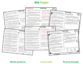Pi Day Reading Comprehension Passage and Questions