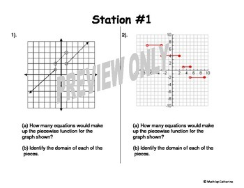 Piecewise Functions Review Stations Activity by Math by
