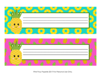 Pineapple Desk Name Plates Classroom Decor by Pink Posy