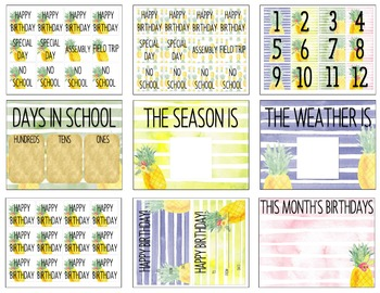 Pineapple Watercolor Classroom Calendar Set By Miss Lulu TpT