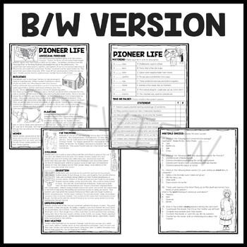 Pioneer or Frontier Life Reading Comprehension Worksheet