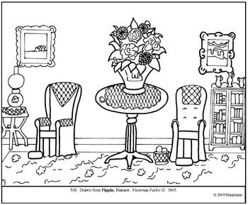 Pippin. Victorian Parlor II. Coloring page and lesson plan