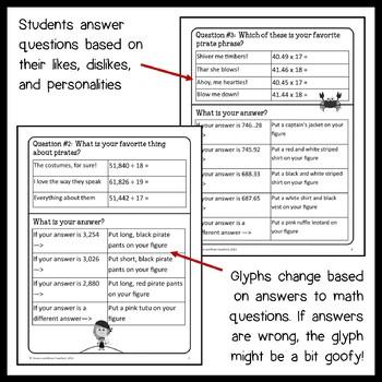 Pirate Math Goofy Glyph (6th Grade Common Core) by Yvonne
