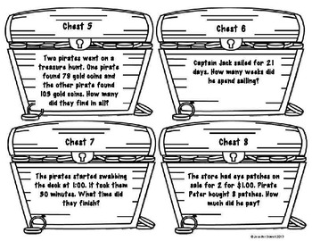 Math Word Problems- Pirate Task Cards by Love Teaching
