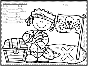 Pirates Mixed Multiplication Color-By-Number by