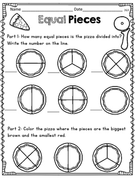 Pizza Partitioning Common Core Math Unit for 1st and 2nd