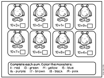 Place Value worksheets 11-19 (tens and ones) by Kiki's
