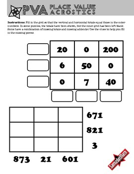 Place Value Acrostic Puzzles: Whole Numbers, Deductive