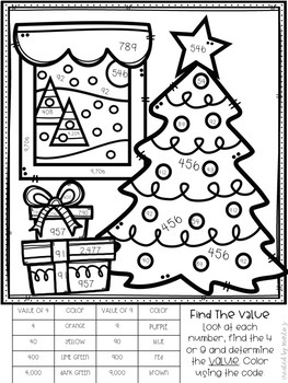 Place Value Color-By-Number Christmas Themed by