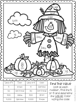 Place Value Color-By-Number Fall Themed by CreatedbyMarloJ