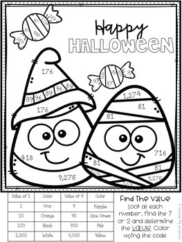 Place Value Color-By-Number Halloween Themed by