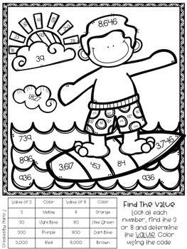 Place Value Color-By-Number Summer Themed by