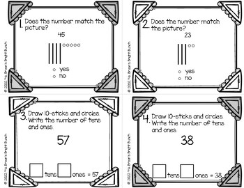 Place Value Concepts Task Cards (Grade 1 Chapter 4) by Ms