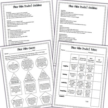 {Place Value} Differentiated Choice Menu, Guidelines and