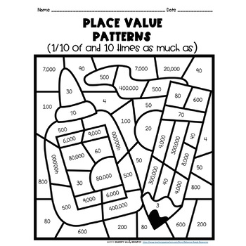 Place Value Patterns Color by Number-Back to School Theme