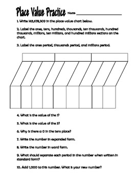 Place Value Practice Worksheet 4th Grade by Clowning