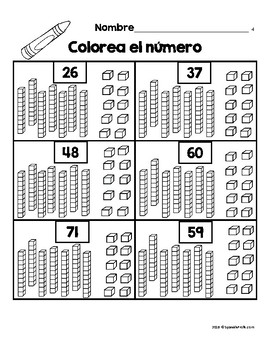 Place Value in Spanish 1st Grade/ Valor posicional primer