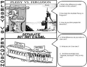Plessy vs Ferguson Cartoon Analysis by History Teacher