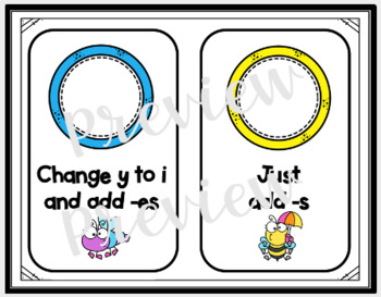 Plural Words-Ending in Y-Change y to i/Add -es or Just -s   TpT