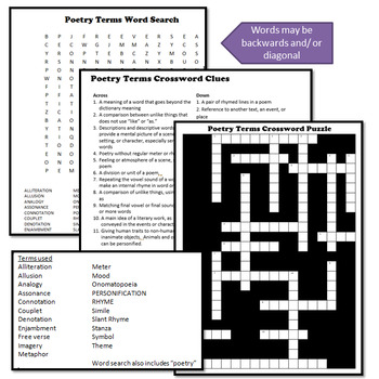 Poetry Terms Crossword Puzzle and Word Search by msdickson