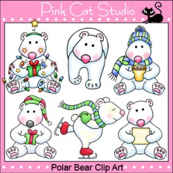 polar bear clip commercial personal winter christmas pink cat clipart bears themes theme cats studio visit
