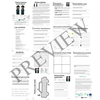 Police Officer No Prep Activity Packet and Worksheets by
