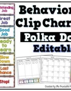 Polka dot behavior clip chart editable also by the printable princess rh teacherspayteachers
