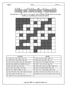 Adding And Subtracting Polynomials Puzzle Worksheet