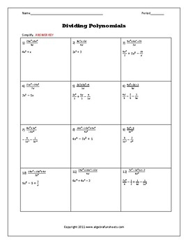 Dividing Monomials Worksheet : dividing, monomials, worksheet, Dividing, Polynomials, Monomials, Worksheet, Algebra, Funsheets